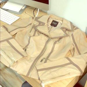 Bebe - Genuine Leather Beige / Mocha Jacket